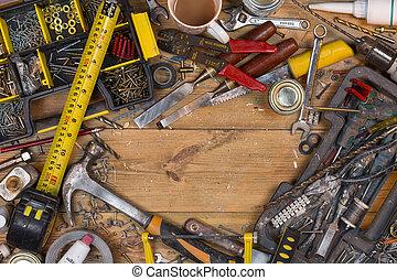 établi, vieux, espace, texte, -, désordonné, outils