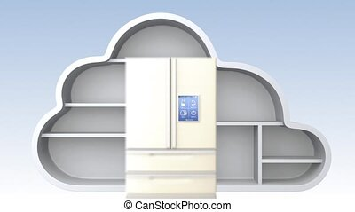 étagère, appareils, nuage, maison