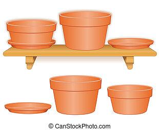 étagère, bois, pots fleurs