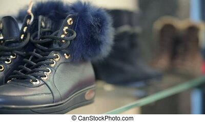 étagère, boutique, chaussures