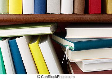 étagère, entiers, de, coloré, books.