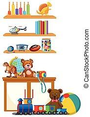 étagère, jouet, enfants