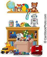 étagère, jouets, beaucoup, scène
