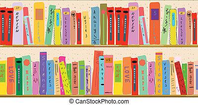 étagère, livre, bannière, dessin animé, rigolote