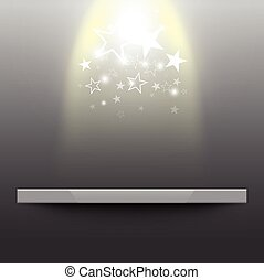 étagère, lumière étoiles, vide