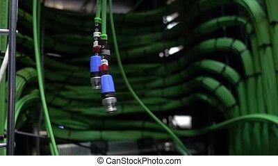 étagère, motion., câbles, appareil photo, deux, acoustique,...