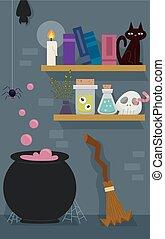 étagère, pot, sorcière, balai, salle
