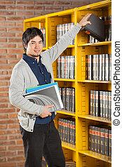 étagère, prendre, livre bibliothèque, étudiant université