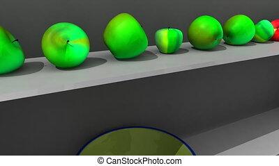 étagère, projection, animation, 3d-apple