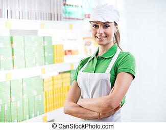 étagère, sourire, ouvrier, fond, supermarché