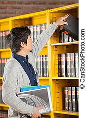 étagère, université, livre bibliothèque, étudiant, prendre