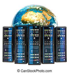 étagères., concept, globe global, serveur, rendre, internet, la terre, 3d