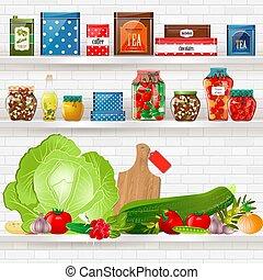 étagères, nourriture saine, conception, délicieux, ton