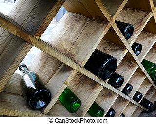 étagères, vin, rhombe, formulaire, bouteilles, mensonge