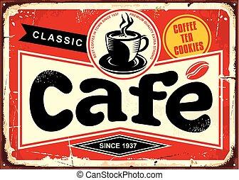 étain, café, barre, retro, signe