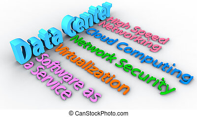 étalage, centre calculs, mots, réseau