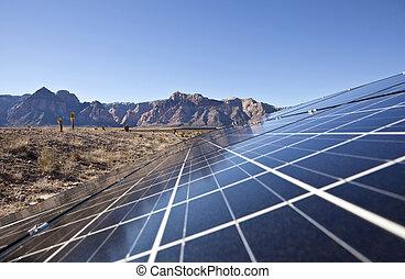 étalage, désert, solaire