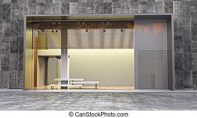 étalage magasin, dans, moll, 3d, illustration