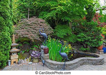 étang, arrière-cour, décor, jardin, maison