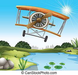 étang, avion, au-dessus