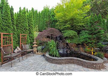 étang, chute eau, landscaping, arrière-cour