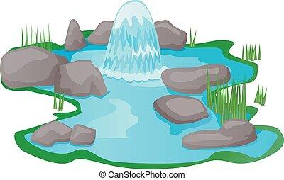 étang, eau source, vecteur