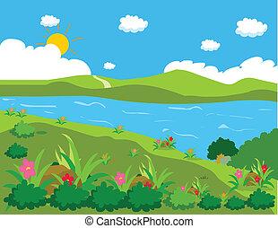 étang, fond, paysage