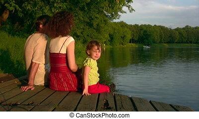 étang, girl, famille