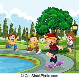étang, gosses, parc, jouer