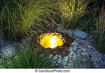 étang, jardin, éclairé