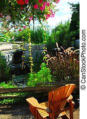 étang, patio, landscaping