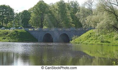 étang, petersburg, slavyanka, russia., marienthal, pierre, rivière, pavlovsk, pont, saint
