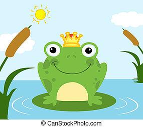 étang, prince, grenouille