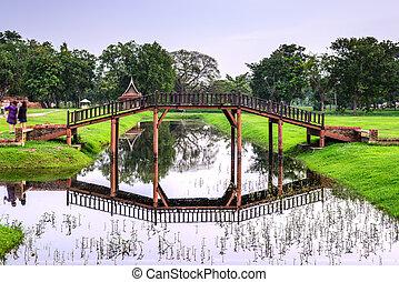 étang, sur, time., pont bois, crépuscule, vendange