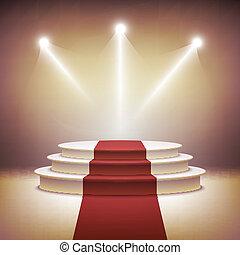 étape, éclairé, cérémonie, vecteur, podium, récompense