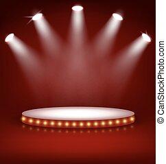 étape, éclairé, fête, lampes, podium, rouges