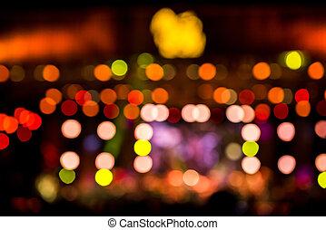 étape, concert, divertissement, brouillé, éclairage, defocused, fond, disco, flou, partie.