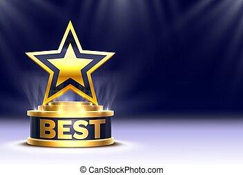 étape, doré, podium, nuit, arrière-plan., étoile, mieux, gagnant, récompense, tasse, scène, cérémonie