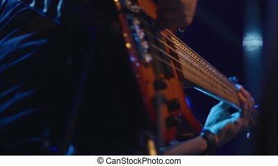 étape, guitare basse, jouer, performance, pendant, musicien
