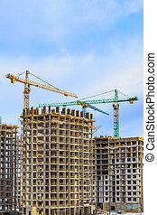 étape, 'in, nouveau, murs, troisième, russie, grues, résidentiel, forest'., travail, bâtiments., moscou, complexe, construction