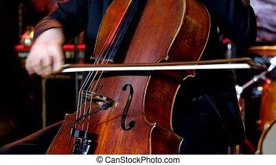 étape, jeux, violoncelle, homme