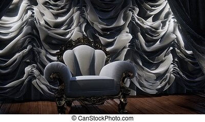 étape, luxueux, chaise, rideau, théâtre