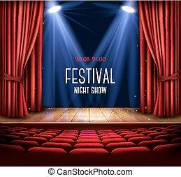étape, nuit, vector., théâtre, poster., rideau, rouges, festival, exposition, spotlight.