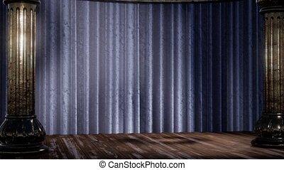 étape, ombre, lumière, rideau