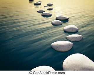 étape, pierres, coucher soleil