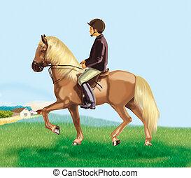 étape, poney