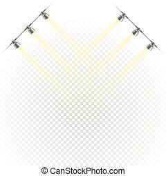 étape, projectors., transparent, photorealistic, tache, isolé, lumières, clair