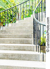 étape, résumé, jardin, escalier