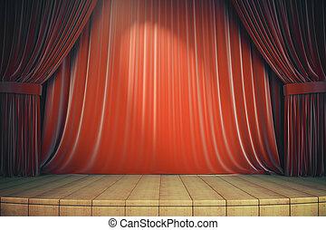étape, rouges, bois, rideaux