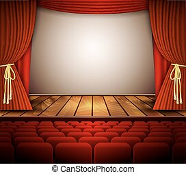 étape, seats., théâtre, rideau, rouges